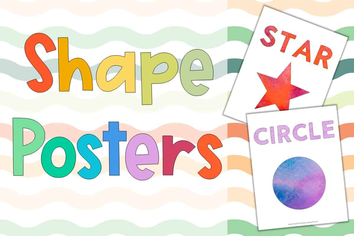 Preschool Shapes Poster Printable with a red watercolor star and a blue and lilac circle poster